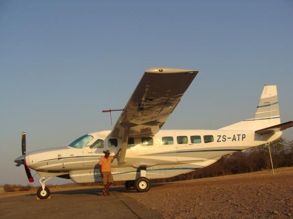 Sir Nige & his plane at  Bumi Hills Air Strip